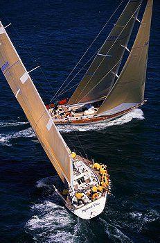 Highland Fling and Hissar Sailboats Cross Tacks