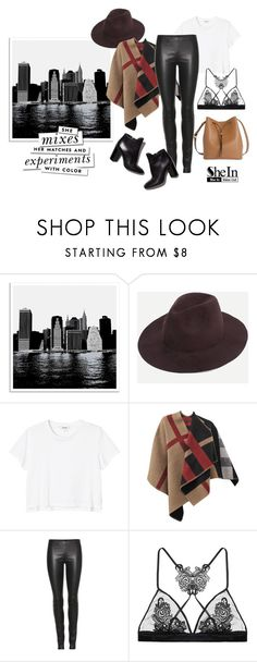 """SheIn Coffee Stylish Fedora Hat"" by katiesdelight ❤ liked on Polyvore featuring Universal Lighting and Decor, Monki, Burberry, The Row, Pierre Hardy, Fleur of England, Kate Spade and Lodis"