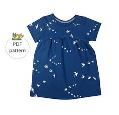 Baby tunic and dress sewing pattern, PDF sewing pattern, knit fabrics pattern, easy baby pattern, girl's knee length dress pattern Toddler Dress Patterns, Summer Dress Patterns, Sewing Patterns Girls, Baby Patterns, Sewing Baby Clothes, Dress Sewing, Girls Tunics, Half Sleeve Dresses, Little Girl Fashion