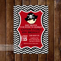 Chevron Pirate Birthday Invitation  - Pirate Party - Boy's Birthday Invite - PRINTABLE INVITATION DESIGN by MommiesInk on Etsy https://www.etsy.com/listing/199852550/chevron-pirate-birthday-invitation