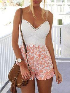 Summer Wear, Spring Summer Fashion, Spring Outfits, Casual Outfits, Cute Outfits, Fashion Outfits, Lace Playsuit, Formal Playsuit, Looks Jeans