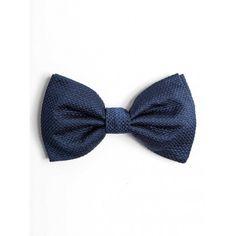 Pajarita de seda jacquard con textura en color azul - SOLOiO