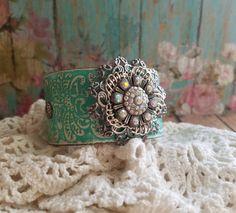 TurQuoiSe Rhinestone Flower & Filigree Leather Cuff