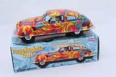 Tin Toy Car 60's Style Psychedelic Hippy Car Friction Gift Box | eBay
