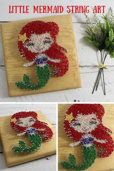 Little Mermaid Nursery Sign-String Art Decor-Ariel Under the Sea Bedroom Wall Art