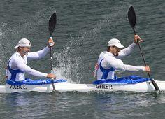 Slovakia's Peter Gelle and Erik Vlcek compete in the kayak double (K2) 1000m men's semifinals