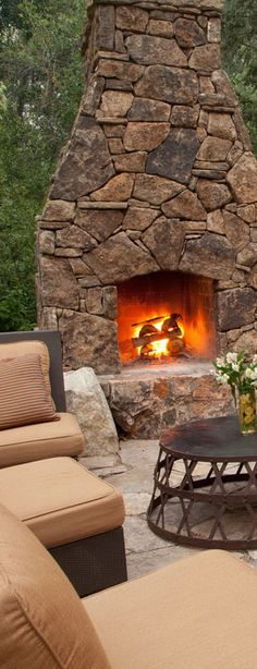 Outdoor Living; Fireplace and outdoor seating area