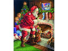 Schilderen op nummer - De Kerstman aan de Open Haard - 40 x 50 cm