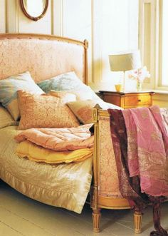 Antique guilded French bed - interiors stylist Atlanta Bartlett.