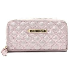Juicy Couture Metallic Pink Quilted Leather Wallet - $39.99