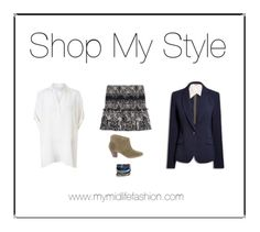 Short patterned ruffle skirt teamed with an oversized silk shirt, navy blazer & ankle boots www.mymidlifefashion.com