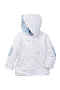 Star Printed Elbow Patch Hoodie (Baby Girls 6-9M)