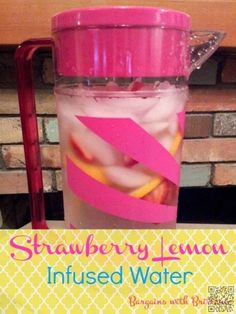 12. #Strawberry Lemon #Infused Water #Recipe - 43 Recipes for #Water for Making #Hydration Tasty ... → Food #Blueberry