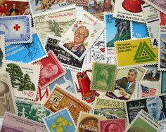 GRAB BAG - Assorted Vintage unused postage stamps - to post 5 letters