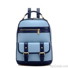 College Double Hasp Zipper Mixed Color Travel Backpack School Bag