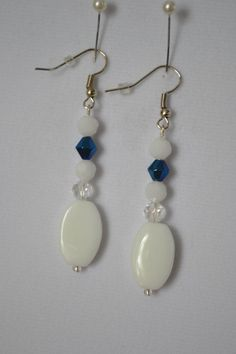 White and Blue Earrings by SKDesignsCo on Etsy
