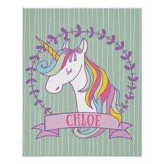 Chloe Personalised Unicorn Poster