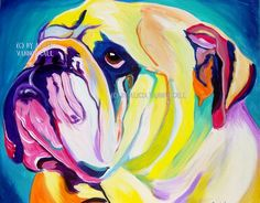 Colorful Pet Portrait Bulldog Art Print 16x20 by by dawgpainter, $40.00