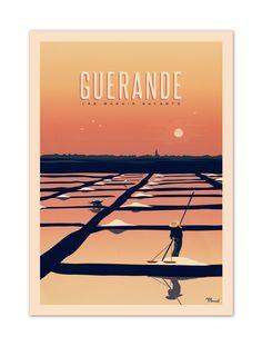 """€25 . Affiche Illustration Originale GUERANDE """"Les Marais Salants'' . Papier 350g/m² Couché Mat"""