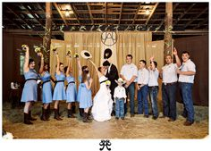 Country wedding idea @Steph Rogers  but light pink with camo belts