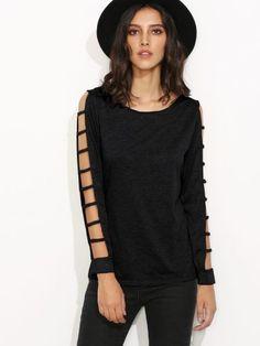Black Ladder Cut Out Sleeve T-shirt