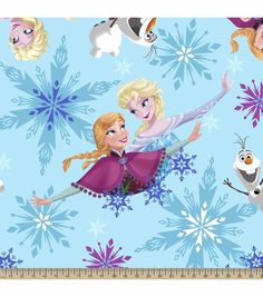 Would only need 5 yds because of width! Disney Frozen Sisters Snowflake Fleece FabricDisney Frozen Sisters Snowflake Fleece Fabric,