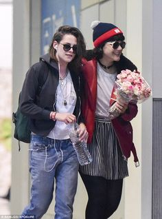 Bonjour: Kristen Stewart was treated to what appeared to be a very romantic welcome to Paris by rumoured girlfriend SoKo