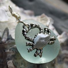 Sea Glass Pendant Crab Charm by BorealisSeaGlass on Etsy, $12.00