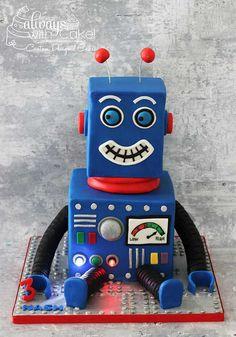 robot cakes for boys Robot Party. Leo Birthday, 6th Birthday Parties, Birthday Cakes, Birthday Quotes, Robot Cake, Robot Theme, Cake Images, Novelty Cakes, Cakes For Boys