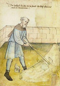 Mélange du mortier de chaux au moyen âge.