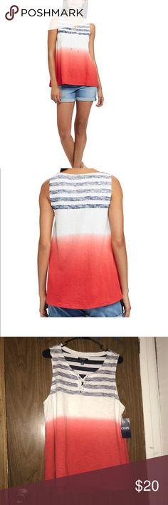 Chaps Dip-Dye Striped Tank PRODUCT FEATURES •Lace-up neckline •Soft cotton construction FABRIC & CARE •Cotton •Machine wash Chaps Tops Tank Tops