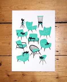 Cat Naps - A4 - 2 colour screenprint. £28.00, via PESKIMO on Etsy. Love the mid-century vintage style of the artwork.