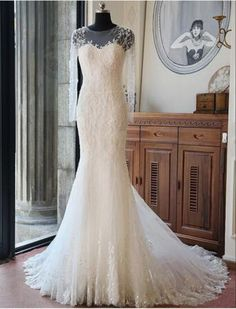 2016 Hot Vintage Wedding Dress O-Neck Chiffon Mermaid