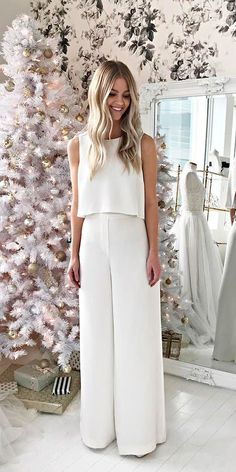 Trend 2018: 24 Wedding Pantsuit & Jumpsuit Ideas ❤ wedding pantsuit ideas classy sleeveless separates alexandra grecco ❤ See more: http://www.weddingforward.com/wedding-pantsuit-ideas/ #weddingforward #wedding #bride