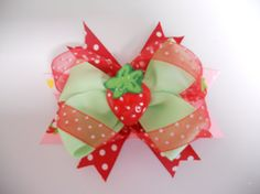 Boutique Layered Hairbow  Red Green and Pink by AshleyKBowtique, $7.50