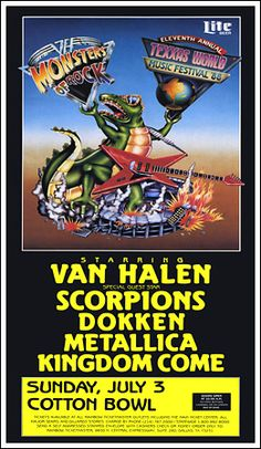 88 Monsters of Rock at Texxas Music Festival Van Halen Scorpions Dokken Metallica Kingdom Come