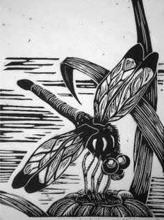Original wall art Handpulled dragonfly nature by DeanDymentStudios, $32.11