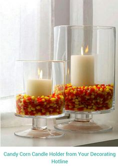 Love this idea. Whether you're a fan of candy corn or not, there's no denying the pop of fall color makes for a classy & interesting piece of decor.
