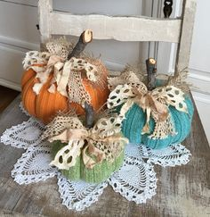 Sweater Pumpkins Set of 3 fabric pumpkins by TatteredTreasures1