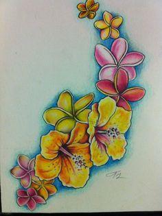 hibiscus and plumeria tattoo by ~lilmrsfrankenstein on deviantART