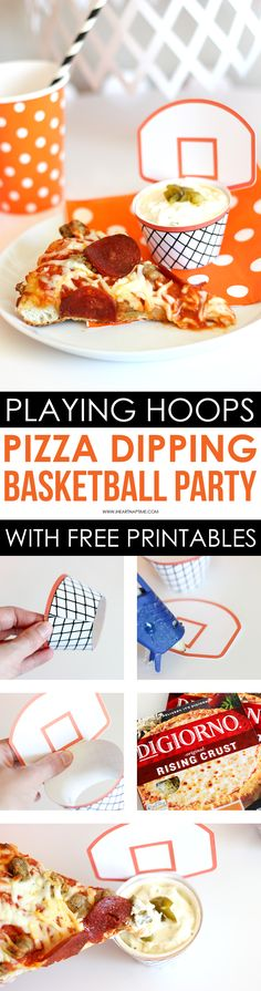 Easy Basketball Pizza Party - Having DIGIORNO pizza for a party is so convenient because it's fast and easy! Check out these tips for throwing a fun Basketball Pizza Party! @digiorno #spon