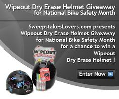 Enter the SweepstakesLovers.com presents Wipeout Dry Erase Helmet Giveaway for National Bike Safety Month for a chance to win a Wipeout Dry Erase Helmet !  Enter at http://www.sweepstakeslovers.com/our-giveaways/sweepstakeslovers-com-presents-wipeout-dry-erase-helmet-giveaway-for-national-bike-safety-month/