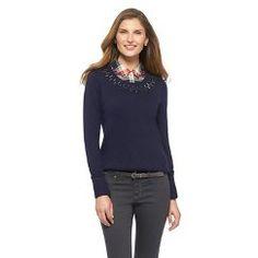 d6f458ed310 Embellished Crew Neck Pullover Sweater Black XXL - Merona Black Sweaters