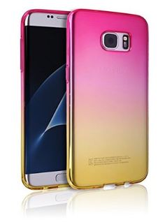 S7Edge Case [Ultra Slim TPU Bumper] [Flexible Case] Colorful Gradient Rainbow Cover S 7 Edge Anti-Scratch Shock Absorption Graphic Soft Shell Light Weight For Samsung Galaxy S7 Edge (Pink with Yellow)