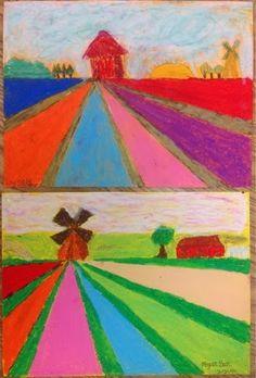 Knight's Smartest Artists: Tulip fields of Holland in perspective - Mrs. Knight's Smartest Artists: Tulip fields of Holland in perspective - Art Lessons For Kids, Art Lessons Elementary, Art For Kids, Landscape Art Lessons, Doodle Drawing, Perspective Art, 5th Grade Art, Art Premier, Ecole Art