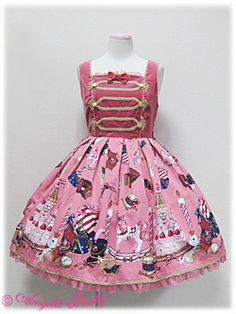 I normally don't like sweet patterns but I love this one! Reminds me of PMMM?? ||| Angelic Pretty / Jumper Skirt / Holy Night Story Switching JSK