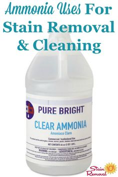 Here is a round up of ammonia uses throughout your home, for stain removal, cleaning and laundry. Deep Cleaning Tips, House Cleaning Tips, Spring Cleaning, Cleaning Hacks, Cleaning Recipes, Cleaning Painted Walls, Soap Scum, Glass Cooktop, Homemade Cleaning Products