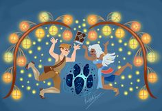 This is my drawing of Milo and Kida from Disney's Atlantis! many of my drawings, this one is based on Rapunzel's wallpaintings illustrated by Claire Keane!I hope you like it! Kida Disney, Arte Disney, Disney Fan Art, Princesas Disney, Disney Love, Disney Magic, Disney Style, Disney Princes Funny, Disney And Dreamworks