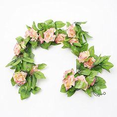 2.4 Metre (Deep Pink) Artificial Silk Rose Flower Ivy Green Leaf Vine Garland Wedding Garland Fake Flowers Home Decor MIC http://www.amazon.com/dp/B00L7C7B5M/ref=cm_sw_r_pi_dp_rJQjwb1C2J038