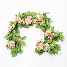 2.4 Metre (Deep Pink) Artificial Silk Rose Flower Ivy Green Leaf Vine Garland Wedding Garland Fake Flowers Home Decor MIC http://www.amazon.com/dp/B00L7C7B5M/ref=cm_sw_r_pi_dp_rJQjwb1C2J038